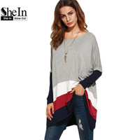 Wholesale Oversized Womens Shirts - Wholesale- SheIn Color Block Loose T Shirt Women Round Neck Womens Long Sleeve Tops Ladies Casual Tees Oversized Longline T-shirt