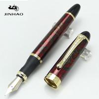 ingrosso fontana d'oro jinhao-All'ingrosso-JINHAO X450 metallo fine rosso Noble 18KGP B penna stilografica pennino vino nebbia e forniture scuola d'oro per la scrittura di penne regalo