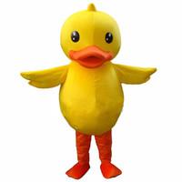 pato extravagante venda por atacado-Amarelo Grande Pato De Borracha Bonito Animal Equipe Da Escola Traje Da Mascote Fancy Dress frete grátis