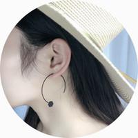Wholesale Painting Earrings - Simple geometric black paint semi-circular hexagonal earrings earrings wholesale free shipping