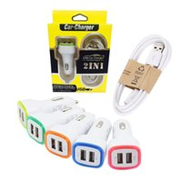 Wholesale Colorful Car Chargers Cable Iphone - 2 in 1 charger car charger cable Metal Car Charger 2 Ports Colorful Micro USB Car Plug USB Adapter For Iphone