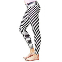 Wholesale Split yoga outfits Exercise run pants Black white stripes tight fitness training sport wear clothing Jog women trousers