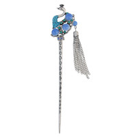 idealway 4 Colors New Fashion Vintage style Silver Ethnic Rhinestone Peacock Shape Hair Sticks Headwear