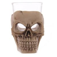 Wholesale chocolate mug resale online - 3D Skull Mug Creative Crystal Glass Vodka Wine Novelty Halloween Bar Props Party Cup Orror Decor Hot gf F R