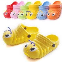 chinelos de interior para crianças venda por atacado-Crianças bonito lagarta jardim sapatos sandálias de verão criança meninos e meninas bebê sandálias chinelos interior escorregar