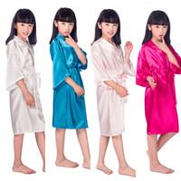Wholesale Children S Wedding Gowns - Wholesale- D16811 2016 Satin Pajama Kid   Children Sleepwear Wedding Flower girls Gown High Quality Kimono Robes Solid Color Nightgown
