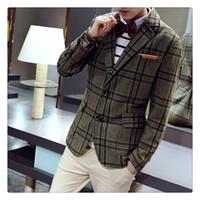Wholesale Men S Suits Plaid - Mens Suits Blazers Autumn&winter High Quality Classic Fashion Lattice Men's Casual Woolen Suits US SIZE:XS-L