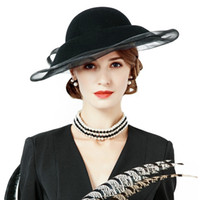 Compra Affascinanti Signore-Nero 100% Lana Fedoras Ladies Fascinators Velo Wide Brim Downtown Abbey Vintage Cloche Cappello alla moda T172