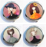 Wholesale Mini Mirror Frame - RANDOM girl mini pocket makeup mirror cosmetic compact mirrors portable double Dual sides stainless steel frame cosmetic makeup