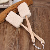 Wholesale Bath Sisal - Wholesale-Natural Sisal Long Handle Body Back Brush Shower Sponge Spa Scrub Bath Scrubber