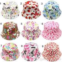 Wholesale Wholesale Face Hat Kids - 30 colors new arrival baby kids Cartoon sunflowers smile face fruit animals and camouflage Print hats boy girl little kids casual caps