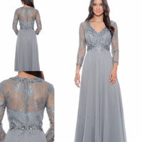 Wholesale Cheap Full Sleeve Evening Dresses - Elegant Lace Bodice Full Sleeves Chiffon Gowns Mother of the Bride Dresses 2017 Cheap A-Line Formal Guest Party Evening Gowns Empire Waist