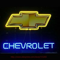 Wholesale Neon Bow Tie - Wholesale- vrolet Bow Tie Car Neon Bulbs Neon Signs Real Glass Tube Art Handcraft Signs Decorated Beer Pub Custom LoGO Fast Shipping 17x14
