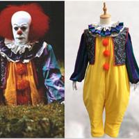 Wholesale Halloween Woman Fancy Dress - IT Pennywise Cosplay Costume Movie Clown Joker Suit Full Outfit Fancy Dress Man Woman Unisex DHL Free Shipping