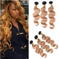 3Pcs Honey Blonde Ombre Virgin Indien Cheveux Humains Extensions Body Wave Dark Roots 1B / 27 Light Brown Two Tone Ombre Human Hair Bundles