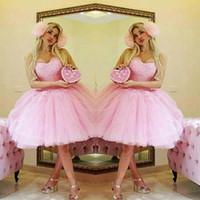 sevgilim tül pembe kısa elbisesi toptan satış-Pembe Sevgiliye Kısa Gelinlik Modelleri Dantel Aplikler Tül Diz Boyu Ev Coming Abiye giyim Lace Up Geri Örgün Parti Elbise