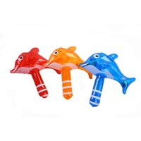 Wholesale Inflatable Hammers - Wholesale- Summer Mini Children Bath Toys Cute Inflatable Dolphin Hammer Baby Shower Water Toys Swimming Games Kids Beach Toys With Rattles