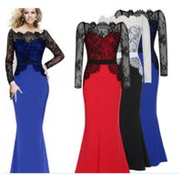 Wholesale Sexy Womens Street Style Dresses Slash Neck Trumpet Floor Length Bodycon Dresses Lace Elegant Fashion Ladies Dresses