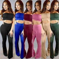 Wholesale Sexy Legging Outfits - Women 2 Piece Jumpsuits And Rompers 2017 Summer Sexy Two Outfits Tube Top Long Pant Set Skinny Milk Silk Bodycon Trumpet Legs Jumpsuit