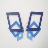 Wholesale Personalized Wood Gift - Women Jewelry Personalized Wooden Eardrop Fashion Amazing Mixed Blue Wood Geometry Diamond Drop Dangle Earrings for Women