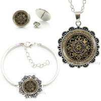 colares de brincos tibetanos venda por atacado-Tibetano Om Mandala gargantilha colar brincos pulseira conjunto de meditação do vintage jóias budista lotus indiano conjuntos de jóias HT059