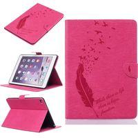 kuş hava toptan satış-IPad Hava iPad Hava 2 için Tablet Deri Kılıf Filp Kapak Cüzdan Standı Kart Yuvası Para Cep Kabartmalı Tüy kuş Desgin