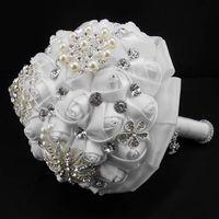 Wholesale Girl Holding Roses - 2017 Pearls Glass Crystal White Rose Women Wedding Holding Flowers Beads Lady Big Girls Bridal Rhinestones Bridal Bridesmaid Bouquets