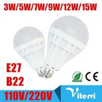 Wholesale 7w Energy Saving Bulb - 110V 220V led bulbs E27 B22 3W 5W 7W 9W 12W 15W led ligths bulb indoor Energy-Saving Light SMD5730