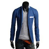 Wholesale Men Dress Suits Cheap - Wholesale- 2016 new solid color cotton thin cheap suits for men groom brightly colored mens blazer a buckle leisure dress suit Men