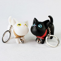 Wholesale Cute Couple Toys - Meow doll keychain Cat Kitten Keyring Bell Toy couple Lover Key Chain Rings For Handbag cute gift Wedding Favor DHL Free Shipping