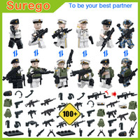 Wholesale Toy Soldiers Buildings - Newest Military Toys Navy Soldiers Troops Mini Action Figure Model Building Blocks Assembly Bricks with Weapons