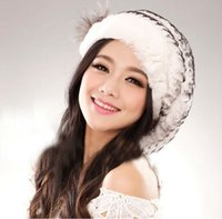 Wholesale Knitted Rex Rabbit Fur Beret - Wholesale-Hot ladies fashion excellent knitted real natural rex rabbit fur hat Genuine Women winter cap high quality beret hat