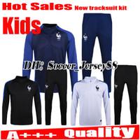 Wholesale Boys Black Jackets - Kids trainingsuit kits children longsleeve France jacket tracksuit Soccer Jersey France GRIEZMANN POGBA MARTIAL Giroud jersey Football shirt