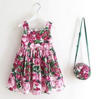 Wholesale Designer Dress Knee Length - Trendy Dress with purse For Girls Summer Printed Pineapple Dresses sleeveless Beach Special Occasions Designer Brand Girls Clothes
