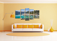 Wholesale Lake Picture Frame - YIJIAHE Landscape Print Canvas Painting Lake 5 Piece Canvas Art Wall Pictures For Living Room Large Wall Art FJ22
