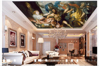 Wholesale Vintage Ship Oil Painting - 3D ceiling wallpaper custom picture mural wall European character oil painting ceiling zenith murals 3D ceiling wallpaper Free shipping