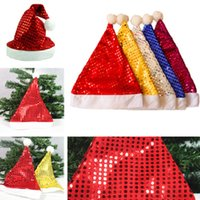 Wholesale Sequined Hats Wholesale - New Christmas hats Christmas Cosplay Santa Claus Hats Adults Xmas Gifts Caps Sequined Christmas cap IC581