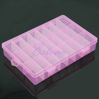Wholesale Compartment Storage Bins - Wholesale- Adjustable Plastic 24 Compartment Storage Box Earring Jewelry Bin Case Container