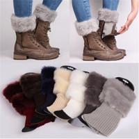 Wholesale White Fur Socks - Wholesale- Fashion Women Winter Warm Knitted Crochet Long Socks Leg Warmer Elastic Faux Fur Boots Cuffs Socks