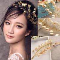 Wholesale Decoration For Hair Women - Gold Leaf Headband for Women Girl Fashion Jewelry Wedding Hair Accessories Bridal Headpieces Handmade Hair Tiaras Evening Dress Decoration