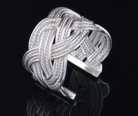 2017 hot sale best price! Chapeamento 925 Sterling Silver Exaggeration 15mm Large mesh weave Anel de abertura encantos moda jóias 10pcs / lot