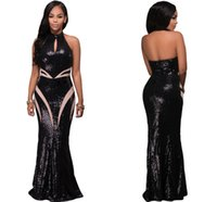 Sparkly Black Sequins Halter Nixe Prom Party Kleider 2017 Modest Cheap auf Lager Backless Voller Maix Casual Runway Dress