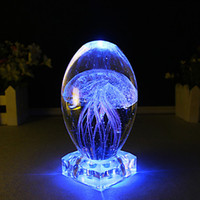 Wholesale Led Small Christmas Tree - Wholesale- Novel Colorful LED Night Light Crystal Crafts Small Night Lamp Table Lamp Wedding Birthday Christmas Gifts Luminous Jellyfish