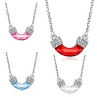 Wholesale Tube Crystal Pendants - Fashion Crystal Tube Necklace Bent Tube Pendant Silver Chains Fashion Jewelry for Women Chritmas Gift 162454