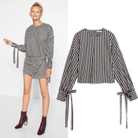 Wholesale Fashion Thin Blouses - Women Euro Black And White Striped Blouse Asymmetric Length Shirt Flare Sleeve Thin Tops Standard Collar For Summer Spring 2017