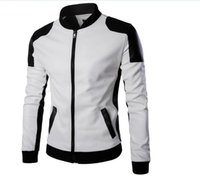 chaqueta mangas cuero xxl al por mayor-Cool College Baseball Jacket Hombres 2018 Fashion Design Black Pu Leather Sleeve Hombres Slim Fit Varsity Jacket Brand Veste Homme Xxl
