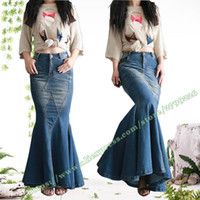 Wholesale Sexy Jeans Skirts - 2017 New Fashion Retro Vintage Sexy Fishtail Fish Tail Long Denim Skirts   Design Jeans Long Skirt for Womens