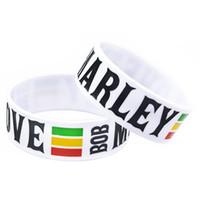 ein liebes-armband großhandel-Großhandel 50 Teile / los 1 Zoll Breite Armband BOB MARLEY EINE LIEBE Silikon Armband für Musik Fans