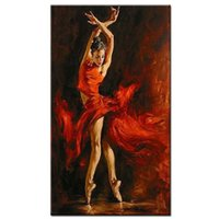 Wholesale Sexy Nude Painted Girls - handpainted sexy hot dancer canvas painting red dress spanish dancing girl oil painting on canvas art for living room
