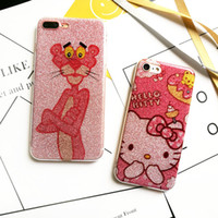 Wholesale Korean Set Phone - For Iphone 7 Mobile Phone Sets Cartoon Flash Powder Painted Korean Lanyard Hole Animal Phone Protection Shell For Iphone 7 6 6s Plus
